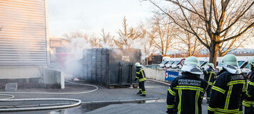 Containerbrand, Remspark, Waiblingen, 11.01.2021.